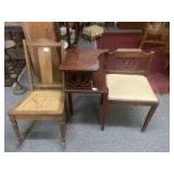 Small desk and wicker chair