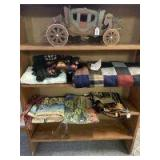 Wooden wagon puzzle,patch material ,3 tapestry and wooden shelf
