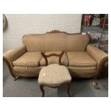 Antique couch (has broken leg)  and small chair