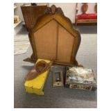 Tin box, footstool, lamp, mirror frame for dresser