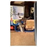 Box of misc glue gun, light, paint gun and misc