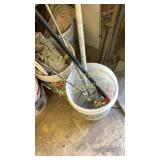 Bucket of paint stirs for drill