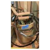 Wood bucket of misc items