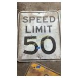 Metal speed limit sign