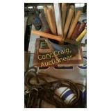 Bucket and box of chizzles for wood carving