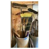 Garbage can and brooms