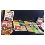 Assorted cookbooks, pot holders and Hot pad hands