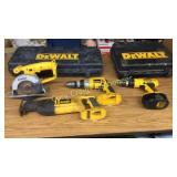 Four pieces of Dewalt machinery Two Dewalt D