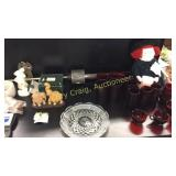 Red Glass Ware, Doll, Elphants, Etc