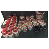 Ruby red glass dish set with