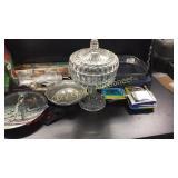 Collector pate, embroider thread, sun tea jar,