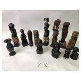 African Carved Tribal Figures & Marble Vase