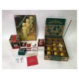 Box of Christmas Items, Hallmark Ornaments, etc.