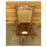 Oak Office Chair Cain Back