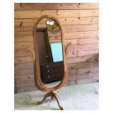 Tall oak oval dress mirror