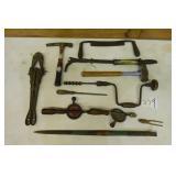 Hand tools, drill, bolt cutter, etc.
