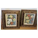 2 floral paintings