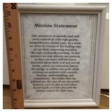Framed mission statement photo