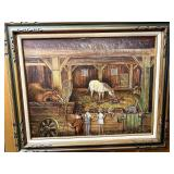 Large framed painting of horse silo