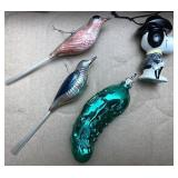 Vintage bird Christmas ornaments and more