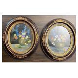 Floral artwork In oval frames