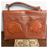 Hand told leather Mexico purse with peso