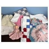 Vintage linens and doll