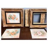Decorative floral tiles with frames