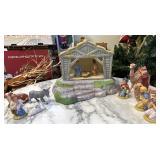 Handpainted ceramic nativity set