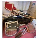 Large lot of tennis rackets