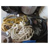 Extension cord and rope, air hose, and chain
