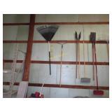 Yard rake, leaf rake, tile spade, car brush, post