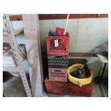 Milk cans, car oil, funnel, and large red toolbox