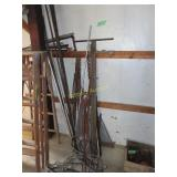 Wire, metal rods, chains, fence post
