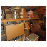 Large assortment of brown door hinges, stove
