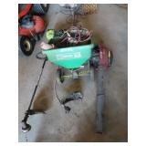 leaf blower, old weed trimmers, yard spreader and