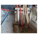 brakes, garden tools, scraper, and sawhorses