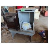 Antique scrub bench, Shelf an old LP stove heater