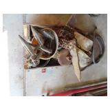 Old wood crate and miscellaneous metal
