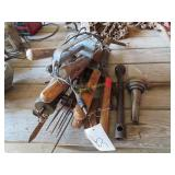 Mole trap, grease gun, hedge trimmers, vintage