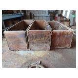 three antique cheese boxes