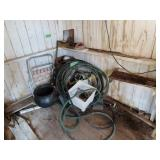 garden hose, antique aluminum Kettle and