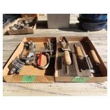 concrete and trowels in miscellaneous vintage