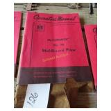 Operator manual for McCormick number 70 moldboard