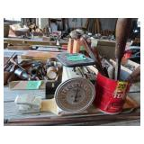 antique scale, files, fish cleaning board and