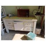 Vintage antique garage cabinet with some supplies