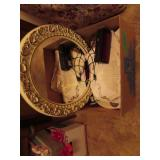 Doilies, pictures, clock in miscellaneous