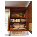 Dishes and miscellaneous in cabinets