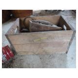 Antique metal gold wooden milk box with vintage
