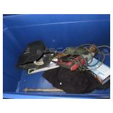 Hammer drill, angle grinder, misc. tools and tote